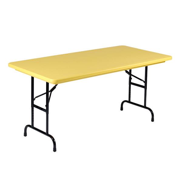 "Correll R-Series R3072 30"" x 72"" Yellow Plastic Folding Table"