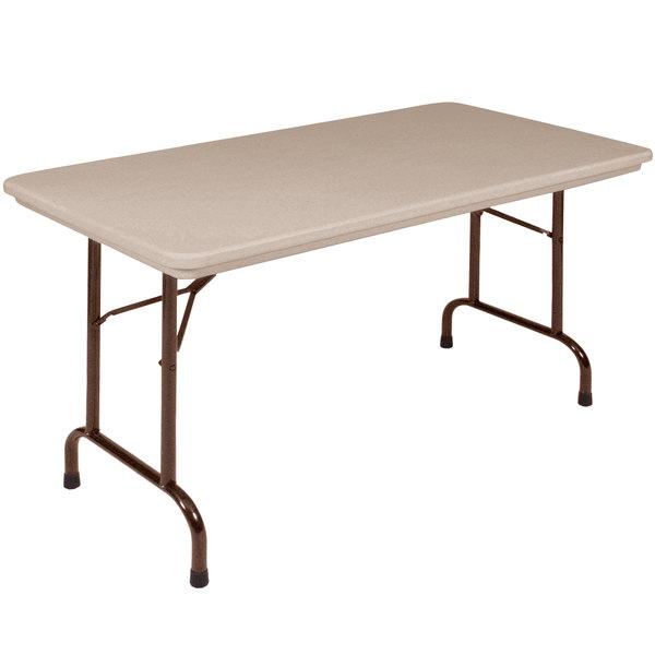 Correll RX2448 24 inch x 48 inch Mocha Granite Plastic Tamper-Resistant Folding Table