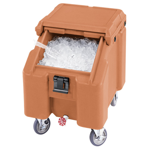 Cambro ICS100L4S157 SlidingLid™ Coffee Beige Portable Ice Bin - 100 lb. Capacity