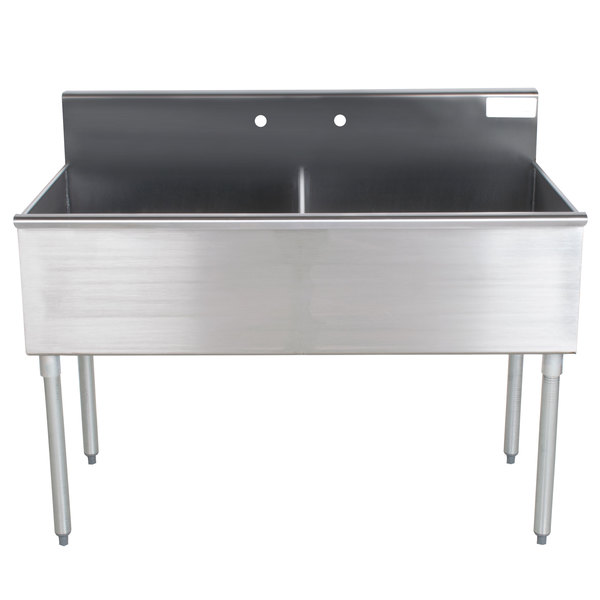 """Advance Tabco 4-42-48 Two Compartment Stainless Steel Commercial Sink - 48"""" Main Image 1"""