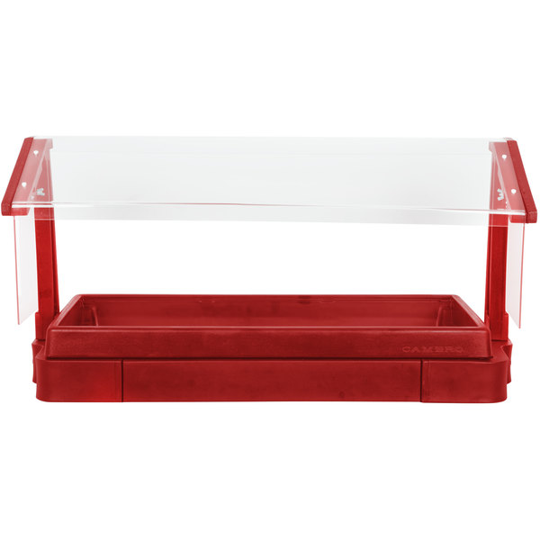 """Cambro BBR720158 74"""" x 24"""" x 25"""" Red Buffet / Salad Bar with Free Standing Sneeze Guard"""
