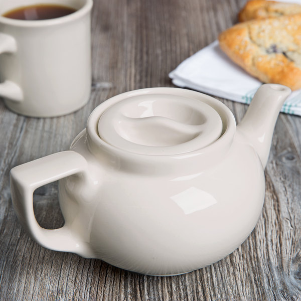 Hall China 120AWHA Ivory (American White) 16 oz. Boston Teapot - 12/Case