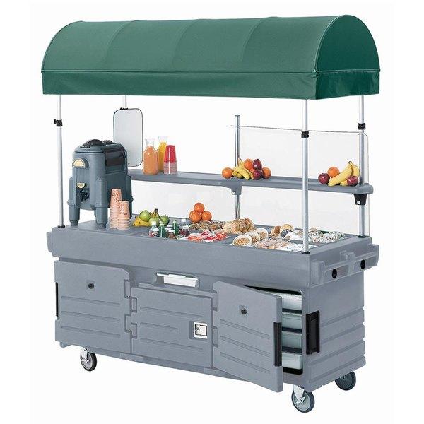 Cambro KVC854C191 CamKiosk Granite Gray Customizable Vending Cart with 4 Pan Wells and Canopy
