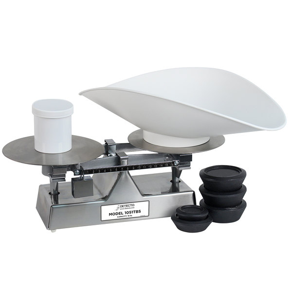 Cardinal Detecto 1051TBS 16 lb. Stainless Steel Baker's Dough Scale with Scoop - 16 oz. x 0.25 oz. Beam Grads Main Image 1