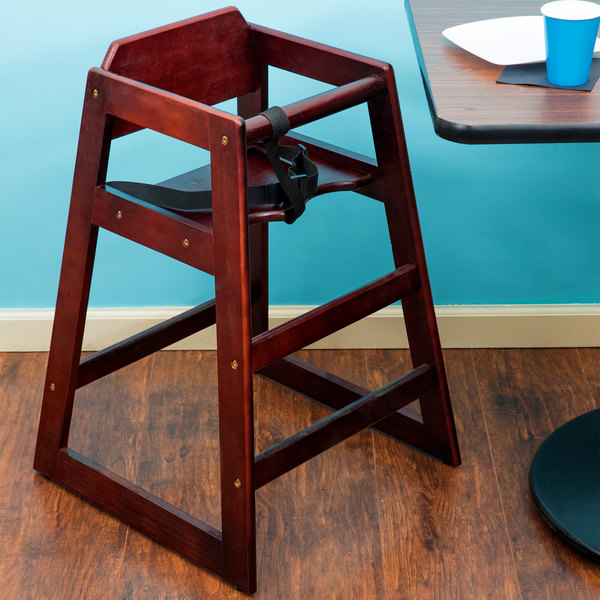 Lancaster Table & Seating Assembled Stacking Restaurant Wood High Chair with Mahogany Finish Main Image 3