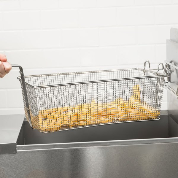 "17"" x 8"" x 6"" Fryer Basket with Front Hook"
