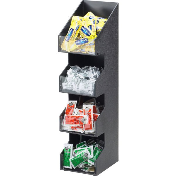 """Cal-Mil 1423 Classic Four Tier Black Condiment Display with Clear Bin Fronts - 5 1/4"""" x 6 3/4"""" x 21"""""""
