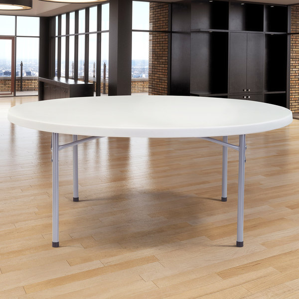 "NPS Round Folding Table, 71"" Plastic, Gray - BT71R"