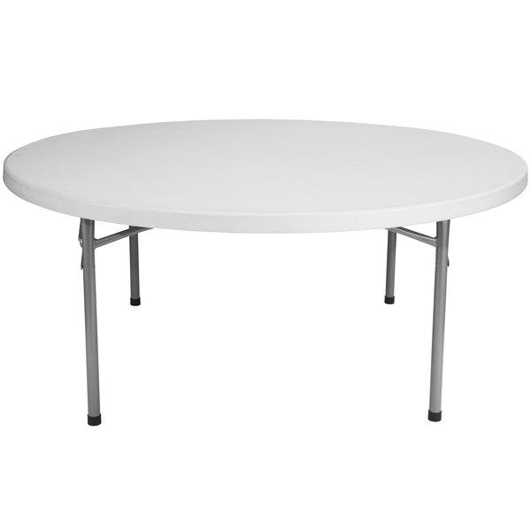 "NPS Round Folding Table, 71"" Plastic, Gray - BT71R"