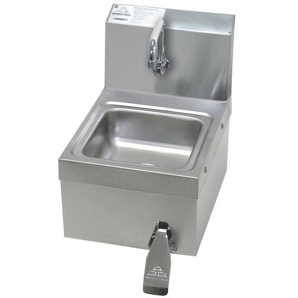 Advance Tabco 7-PS-63 Space Saver Hands Free Hand Sink with Knee Valve - 12 1/4""