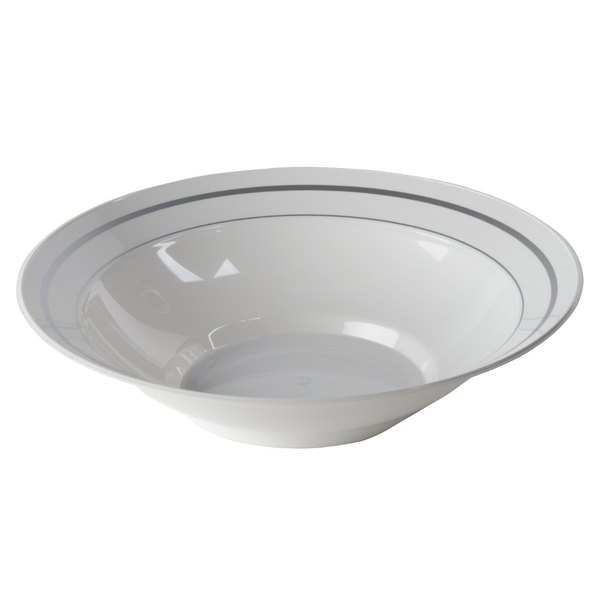 WNA Comet MPBWL10WSLVR 10 oz. White Masterpiece Bowl with Silver Accent Bands - 15/Pack Main Image 1