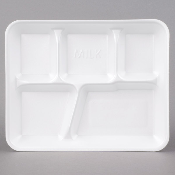 Genpak 10500 10 3/8 inch x 8 3/8 inch x 1 3/16 inch 5 Compartment White Foam School Tray - 500/Case