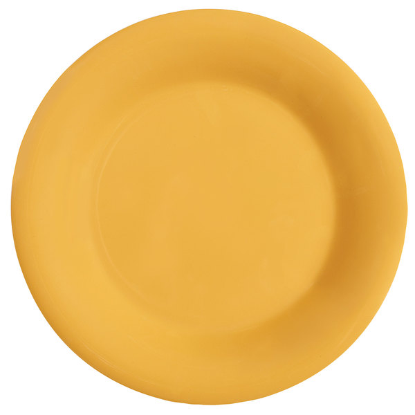 "GET WP-9-TY Diamond Mardi Gras 9"" Tropical Yellow Wide Rim Round Melamine Plate - 24/Case"
