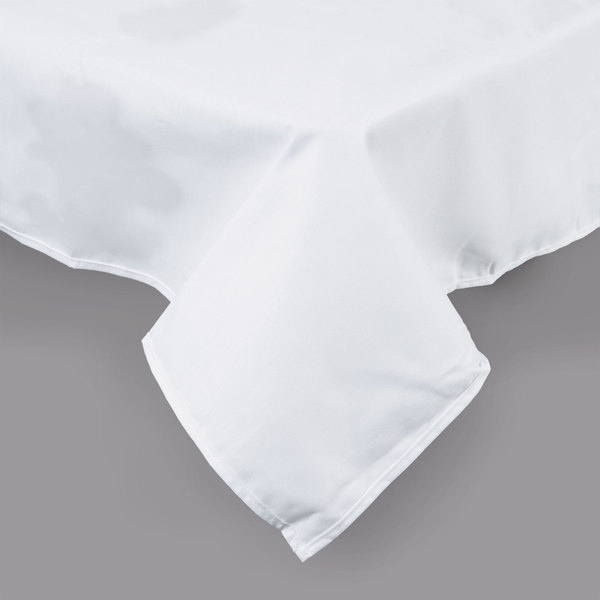 """White Hemmed Poly Cotton Tablecloth - 45"""" x 110"""""""