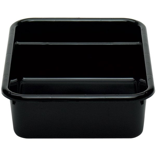 "Cambro 1621CBP110 Poly Cambox 21"" x 16"" x 5"" Black Two Compartment Polyethylene Bus Box"