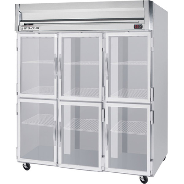 Beverage Air Hrs3 1hg Led Horizon Series 78 Glass Half Door Reach In Refrigerator With