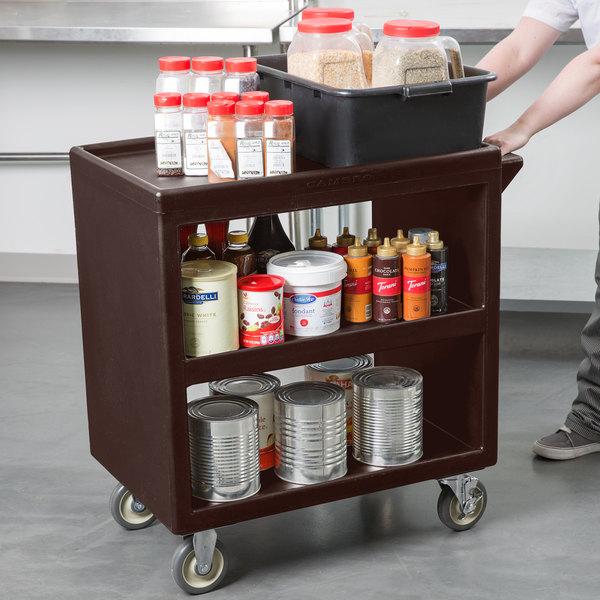"Cambro BC230131 Dark Brown Three Shelf Service Cart - 33 1/4"" x 20"" x 34 5/8"""