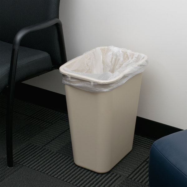 Continental 4114BE 41.25 Qt. / 10 Gallon Beige Rectangular Wastebasket / Trash Can