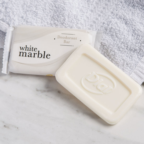Dial DW06011-A White Marble Basics Hypoallergenic Deodorant Soap 0.81 oz. - 500/Case Main Image 4