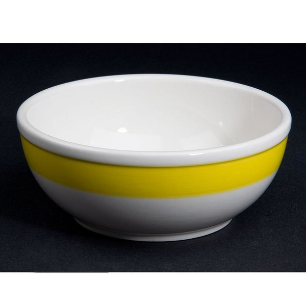 CAC R-18-YEL Rainbow Nappie Bowl 15 oz. - Yellow - 36/Case