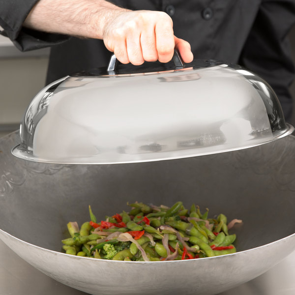 """15 3/8"""" Stainless Steel Wok Cover Main Image 8"""