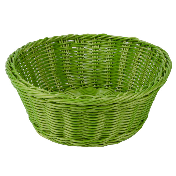 Tablecraft HM1175GN Green Round Rattan Basket 8 1/4 inch x 3 1/4 inch 6/Pack