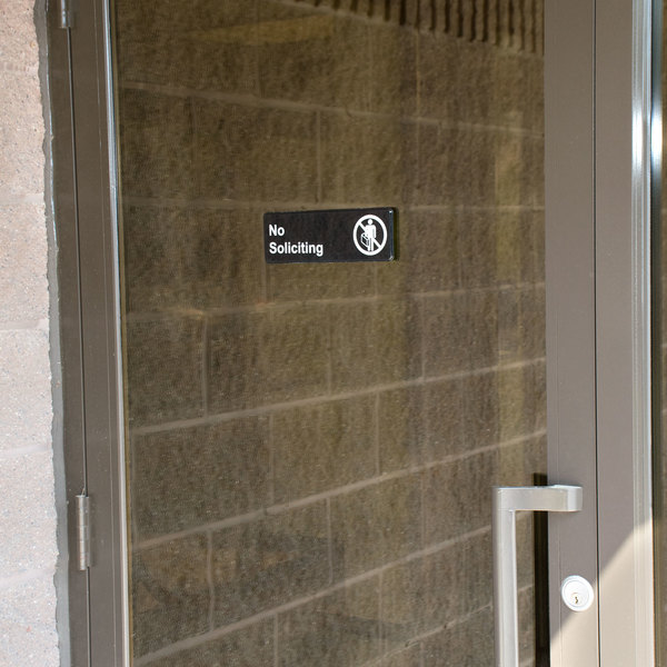 """No Soliciting Sign - Black and White, 9"""" x 3"""""""