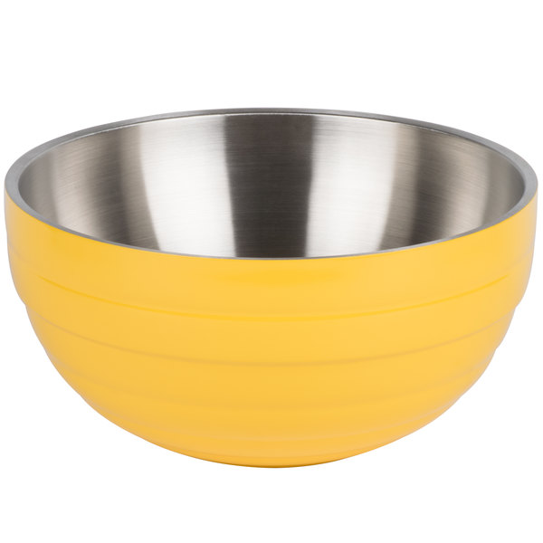 Vollrath 4659245 Double Wall Round Beehive 6.9 Qt. Serving Bowl - Nugget Yellow