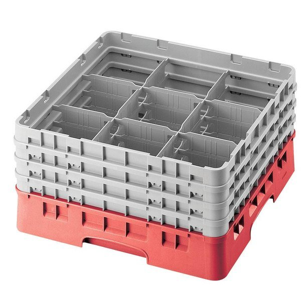 """Cambro 9S958163 Red Camrack Customizable 9 Compartment 10 1/8"""" Glass Rack"""