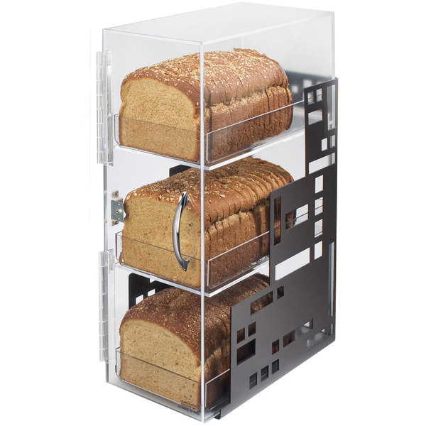 "Cal-Mil 1614-13 Squared Three Tier Black Steel Bread Case - 7"" x 12"" x 20"" Main Image 1"