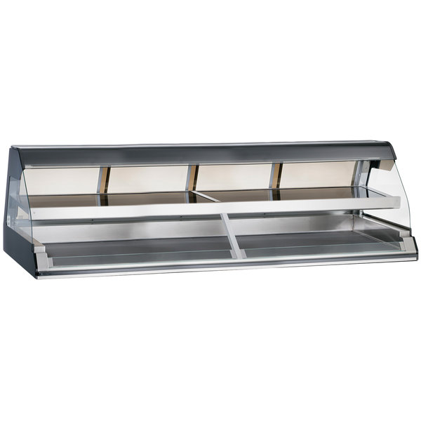 """Alto-Shaam ED2-96/2S BK Black Two-Tiered Heated Display Case with Curved Glass - Self Service 96"""""""