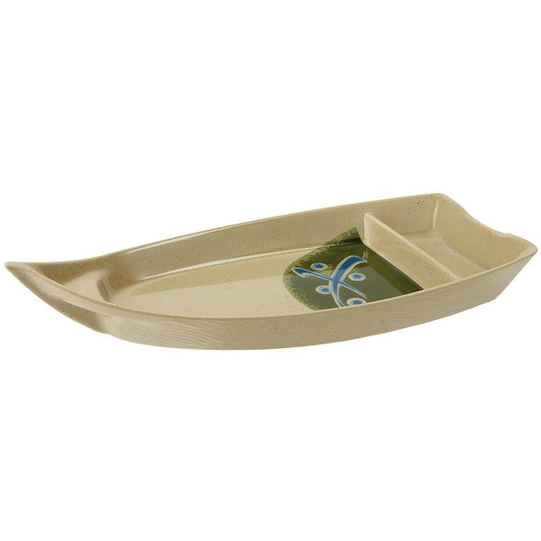 """GET 136-TD Japanese Traditional 10 1/2"""" Two Compartment Boat 10 oz. Plate - 12/Case"""