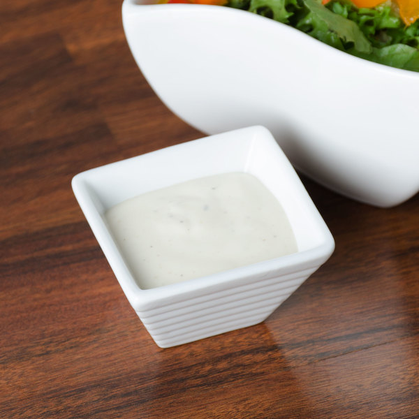American Metalcraft SCR12 1.25 oz. White Square Ribbed Porcelain Sauce Cup Main Image 6