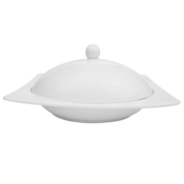 CAC KSE-210 Square White Porcelain Pasta Bowl with Lid 20 oz. - 6/Case Main Image 1
