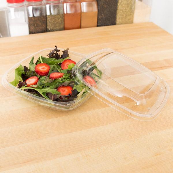 Sabert 24 oz. Clear PETE Square Tamper-Evident, Tamper-Resistant Bowl with Lid - 150/Case Main Image 4