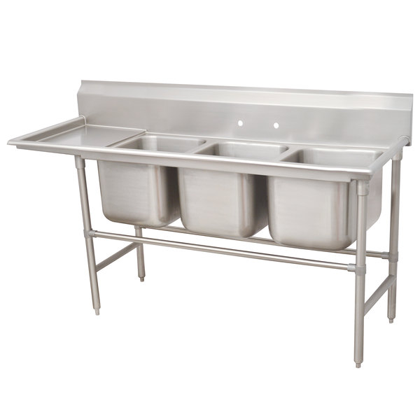 Left Drainboard Advance Tabco 94-63-54-18 Spec Line Three Compartment Pot Sink with One Drainboard - 83""