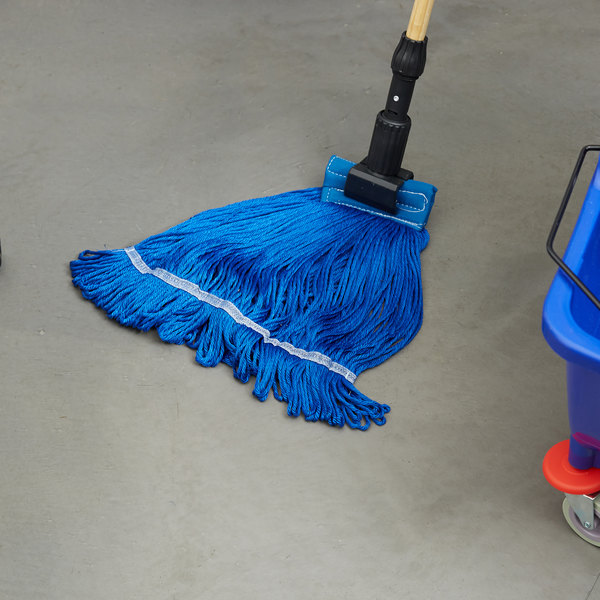 """Small 16 Oz. Microfiber String Mop Head with Blue 6"""" Band"""