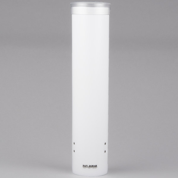 """San Jamar C3165WH Pull-Type White 4 - 10 oz. Flat and Cone Cup Dispenser - 16"""" Long"""