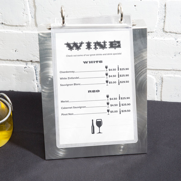 "Menu Solutions MT2R-TOPB Alumitique Aluminum Menu Tent with Top Rings - Swirl Finish - 6"" x 7 3/4"""