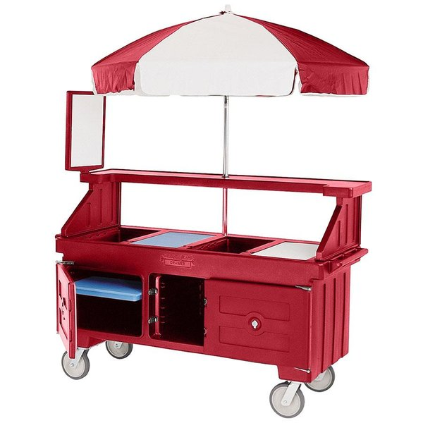 Cambro CVC72158 Camcruiser Hot Red Vending Cart with Umbrella and 3 Counter Wells Main Image 1