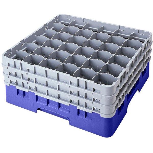 "Cambro 36S900168 Blue Camrack Customizable 36 Compartment 9 3/8"" Glass Rack"