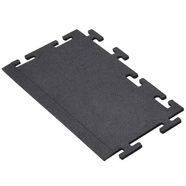 "Cactus Mat 2560-CTLB Tile Lock 12"" x 24"" Black Rubber Interlocking Weight Room Mat Border - 3/8"" Thick Main Image 1"