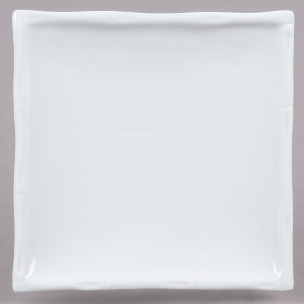"CAC BAP-9 Bamboo Pattern 9 1/4"" x 9 1/4"" Bright White Square Porcelain Plate - 24/Case"