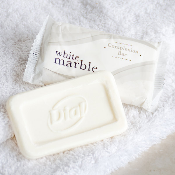 Dial DW06010-A White Marble Basics Complexion Soap 0.81 oz. - 500/Case