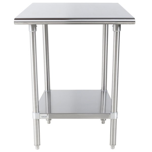 """Advance Tabco Premium Series SS-300 30"""" x 30"""" 14 Gauge Stainless Steel Commercial Work Table with Undershelf"""