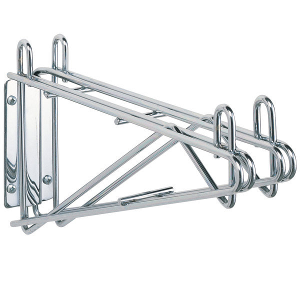 """Metro 2WS14S Post-Type Wall Mount Shelf Support for Adjoining Super Erecta Stainless Steel 14"""" Deep Wire Shelving Main Image 1"""