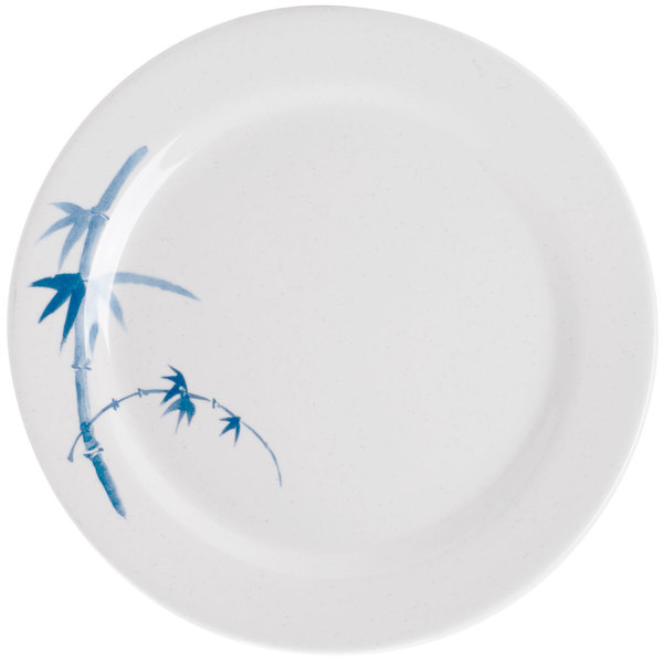 "Thunder Group 1009BB Blue Bamboo 9 1/8"" Round Melamine Plate - 12/Pack"