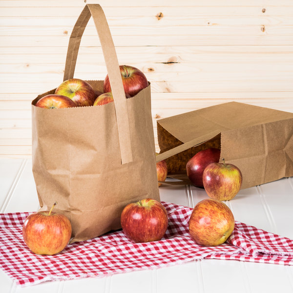 """1/2 Peck """"Sophomore"""" Natural Brown Kraft Paper Produce Customizable Market Stand Bag with Handle - 500/Case"""