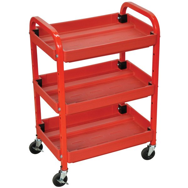 "Luxor ATC332 Red Three Shelf Utility Cart Adjustable - 15 1/2"" x 22"" x 32"""