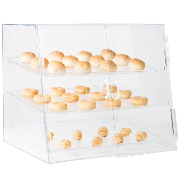 """Cal-Mil P254SS Three Tier Slanted Front Acrylic Display Case - 26 1/2"""" x 22 1/2"""" x 23 1/2"""" Main Image 3"""